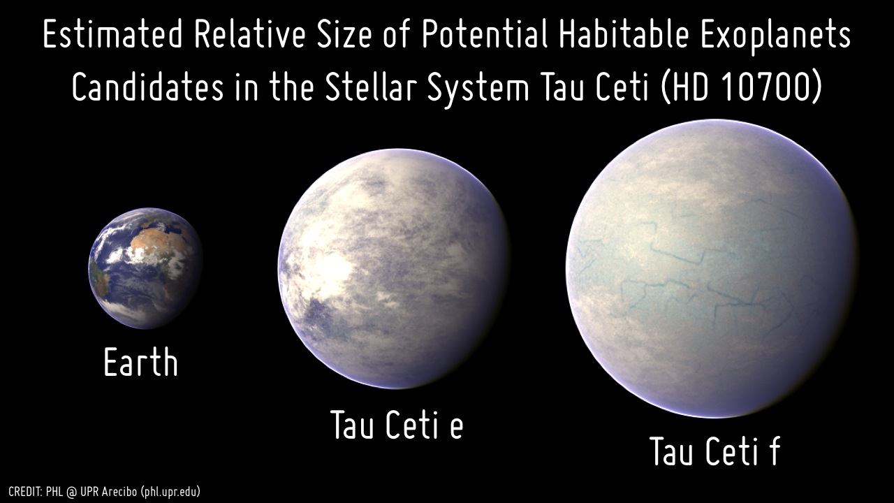 Relative size of the two potential habitable exoplanet candidates around Tau Ceti (HD 10700) compared to Earth. Planet sizes were estimated with a mass-radius relationship.