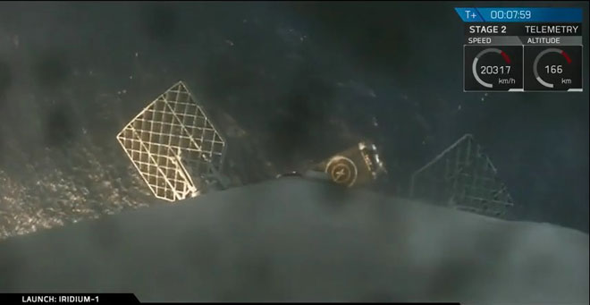SpaceX falcon 9 1st stage approaching the landing barge.