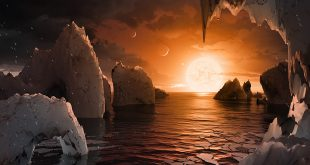This artist's concept allows us to imagine what it would be like to stand on the surface of the exoplanet TRAPPIST-1f, located in the TRAPPIST-1 system in the constellation Aquarius