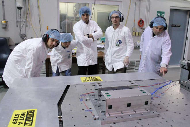 Canadian Satellite Design Challenge launch vibration testing at the Canadian Space Agency David Florida Laboratory, Ottawa