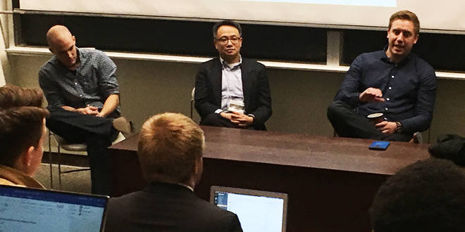 Panelists Jeff Osbourne, Eric Choi and James Slifierz field questions from the audience following their talks on Space Business and Policy