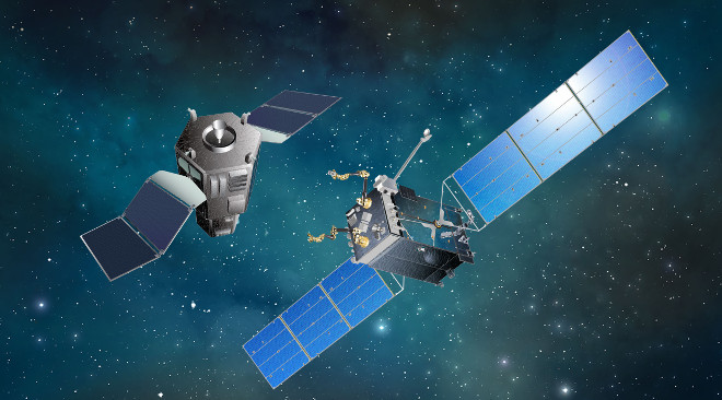 RSGS – This is an artist's impression of the RSGS spacecraft approaching another spacecraft in need of repair.