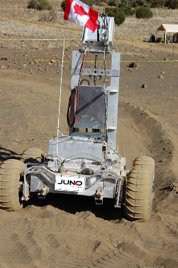 A prototype of Neptec's Juno rover is tested at an analogue site in Hawaii.