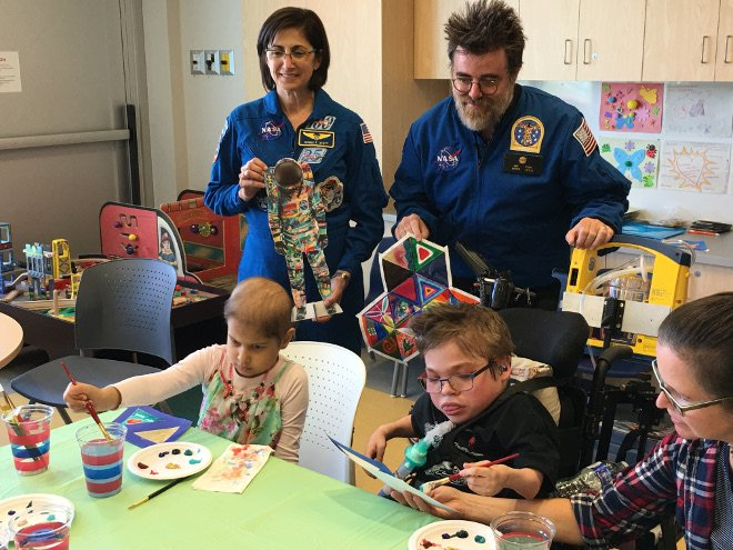 Pediatric cancer patients were given the opportunity to paint the Unity space suit as part of the Space Suit Art Project