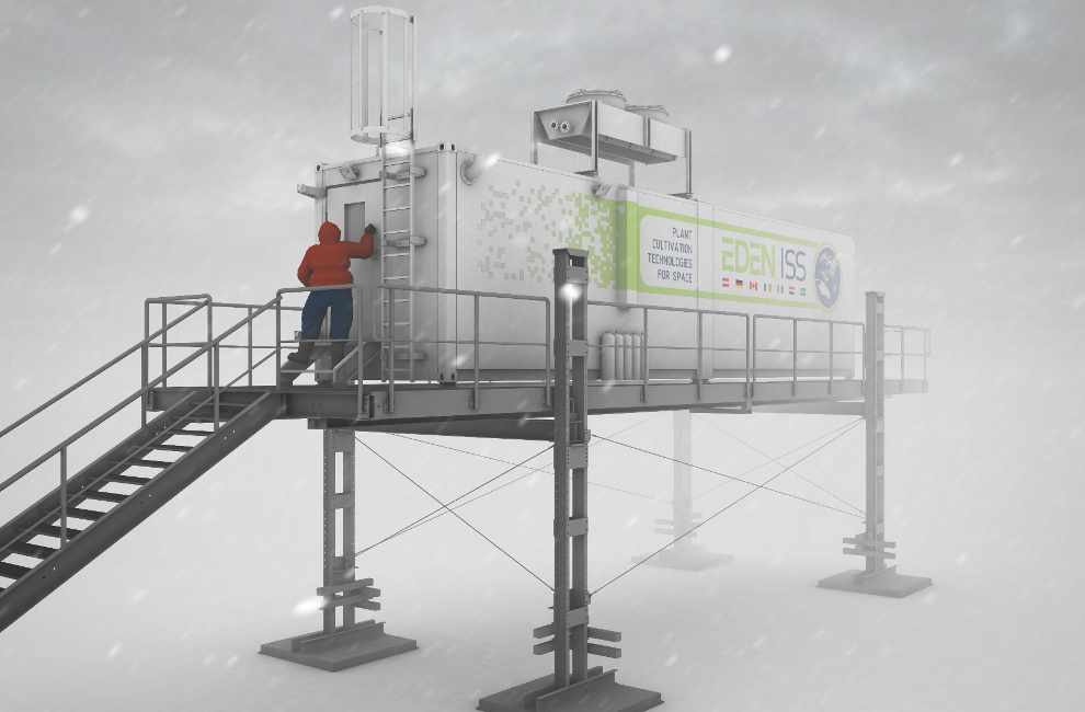 Rendering of the EDEN ISS greenhouse in Antarctica.