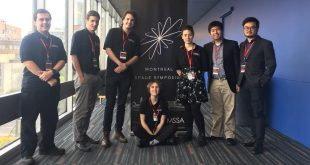 Some of the Montreal Space Symposium organizers. From left to right: Adam Targui, McGill, Sandro Papais, McGill, Matias Rittatore, Concordia, Aliénor Lougerstay, Concordia, Hannah Jack Halcro, Concordia, Jan Clarence Dee, Concordia, Raymond Pai, Concordia.
