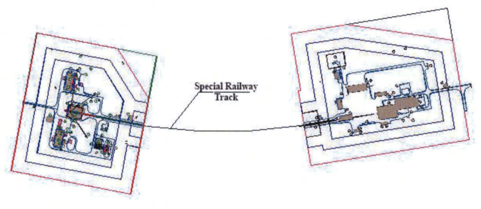 Special railway track between the horizontal processing facility and launch pad
