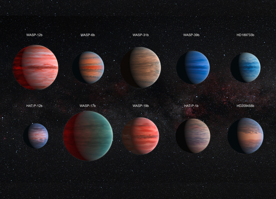 This image shows an artist's impression of the ten hot Jupiter exoplanets