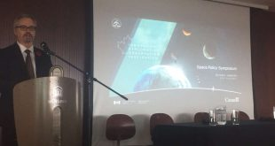 Canadian Space Agency president Sylvain Laporte keynotes the Canadian Space Policy Symposium