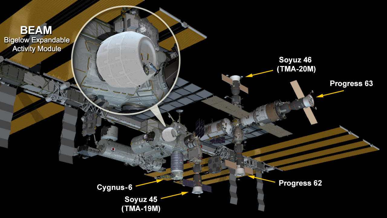 The space station now hosts the new fully expanded and pressurized Bigelow Expandable Activity Module attached to the Tranquility module