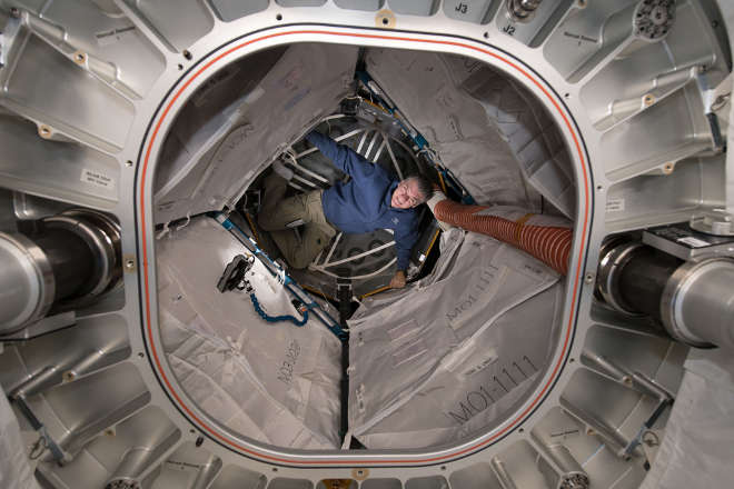 ESA astronaut Paolo Nespoli completes some tests in the Bigelow Expandable Activity Module, or BEAM, on the International Space Station