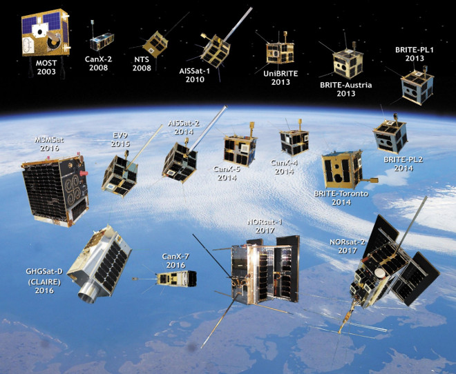 The satellites built by the Space Flight Laboratory over the last 20 years