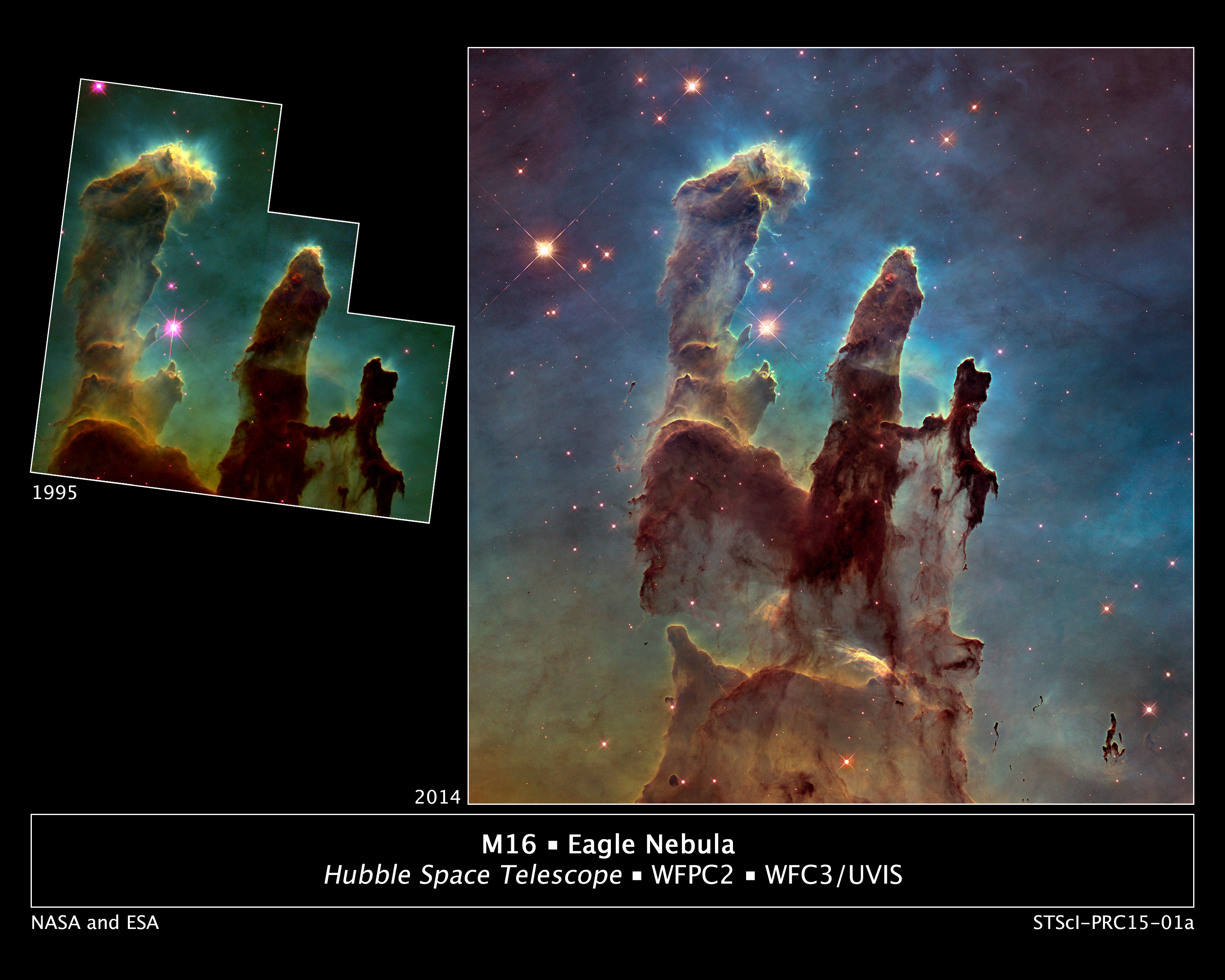 "Astronomers using NASA's Hubble Space Telescope have assembled a bigger and sharper photograph of the iconic Eagle Nebula's ""Pillars of Creation"" (right); the original 1995 Hubble image is shown at left. Credits: NASA/ESA/Hubble Heritage Team (STScI/AURA)/J. Hester, P. Scowen (Arizona State U.)"
