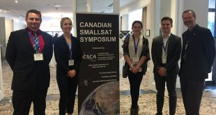 AlbertaSat's students at the Canadian SmallSat Symposium. left to right: Chris Robson, Callie Lissinna, Katelyn Ball, Tyler Hrynyk and Associate Professor Carlos Lange
