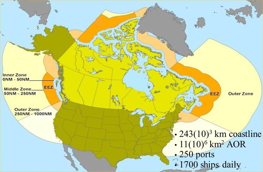 Canadian surveillance regions, exclusive economic zone (EEZ) and area of responsibility (AOR