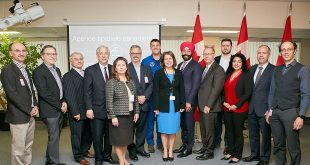 Minister Bains, astronaut Jeremy Hansen, Canadian Space Agency president Sylvain Laporte and representatives from some of the organizations that received funding through the Space Technology Development Program