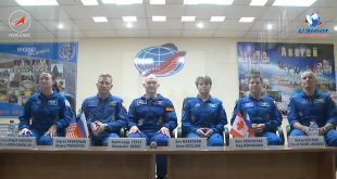 The ISS Expedition 56 prime crew and backup crew including David Saint-Jacques at the last pre-flight press conference