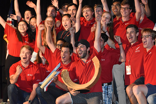 The McGill University rocketry team celebrates their victory.