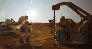 Concept image of drilling for water on Mars