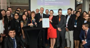 The SGAC receives the 3G (Geography, Gender, Generation) Award from the International Astronautical Federation at the recent International Astronautical Congress in Bremen