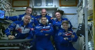 The Expedition 57 and 58 crews talk with family and officials shortly arriving aboard the International Space Station