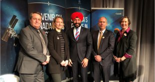 ISED Minister Navdeep Bains (centre) and four members of the Space Advisory Board