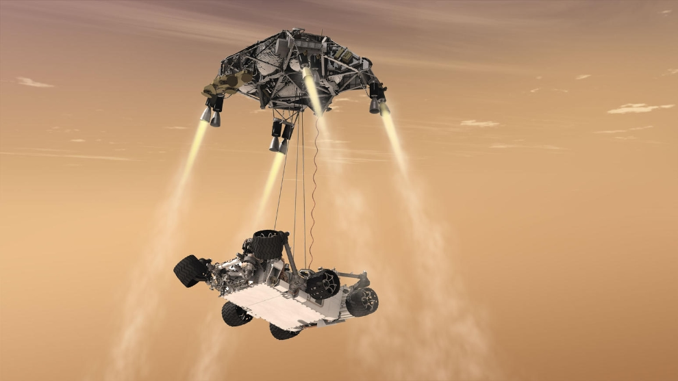 This artist's concept shows the sky-crane maneuver during the descent of NASA's Curiosity rover to the Martian surface. The Mars mission launching in 2020 would leverage the design of this landing system and other aspects of the Mars Science Laboratory architecture