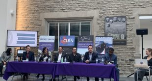 Panelists left to right: Michael Winter, Holly Johnson, Mike Villeneuve, Neil Banerjee, Tim Haltigin, Charles Nyabeze and moderator Melissa Battler