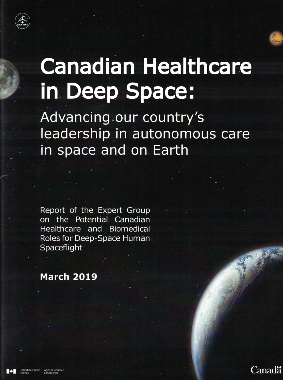 Canadian Healthcare in Deep Space: Advancing our country's leadership in autonomous care in space and on Earth report. Credit: Canadian Space Agency.