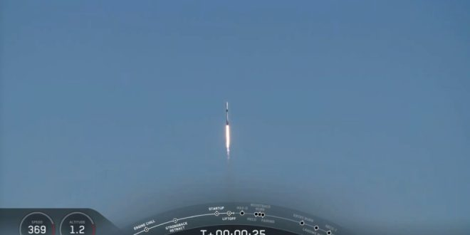 The SpaceX Falcon 9 rocket carrying the trio of satellites for the RADARSAT Constellation Mission shortly after launch and after clearing the fog bank