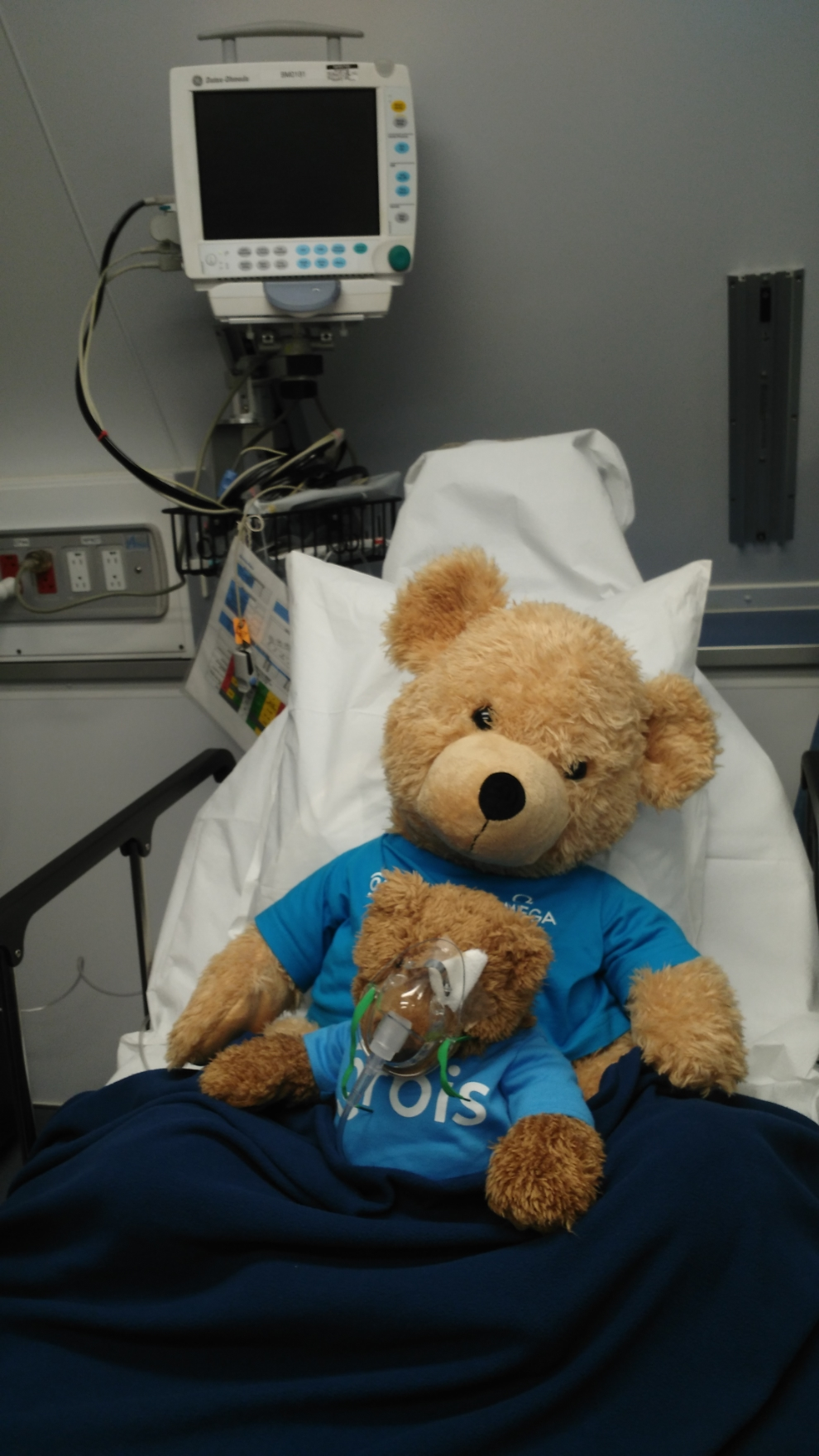 "Every child who receives an operation on board the airplane receives a complementary teddy bear. ""Teddy"" undergoes the same eye procedure as the child, to make the operation less scary"
