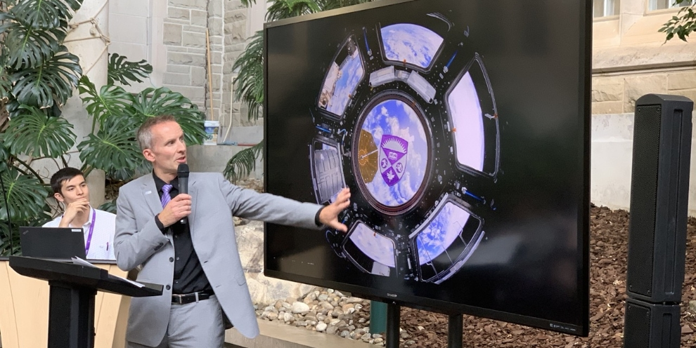 Dr. Gordon Osinski reveals a Western University patch that Canadian astronaut David Saint-Jacques brought to the International Space Station on his mission.